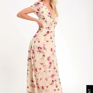 New surplice floral maxi dress with an open back